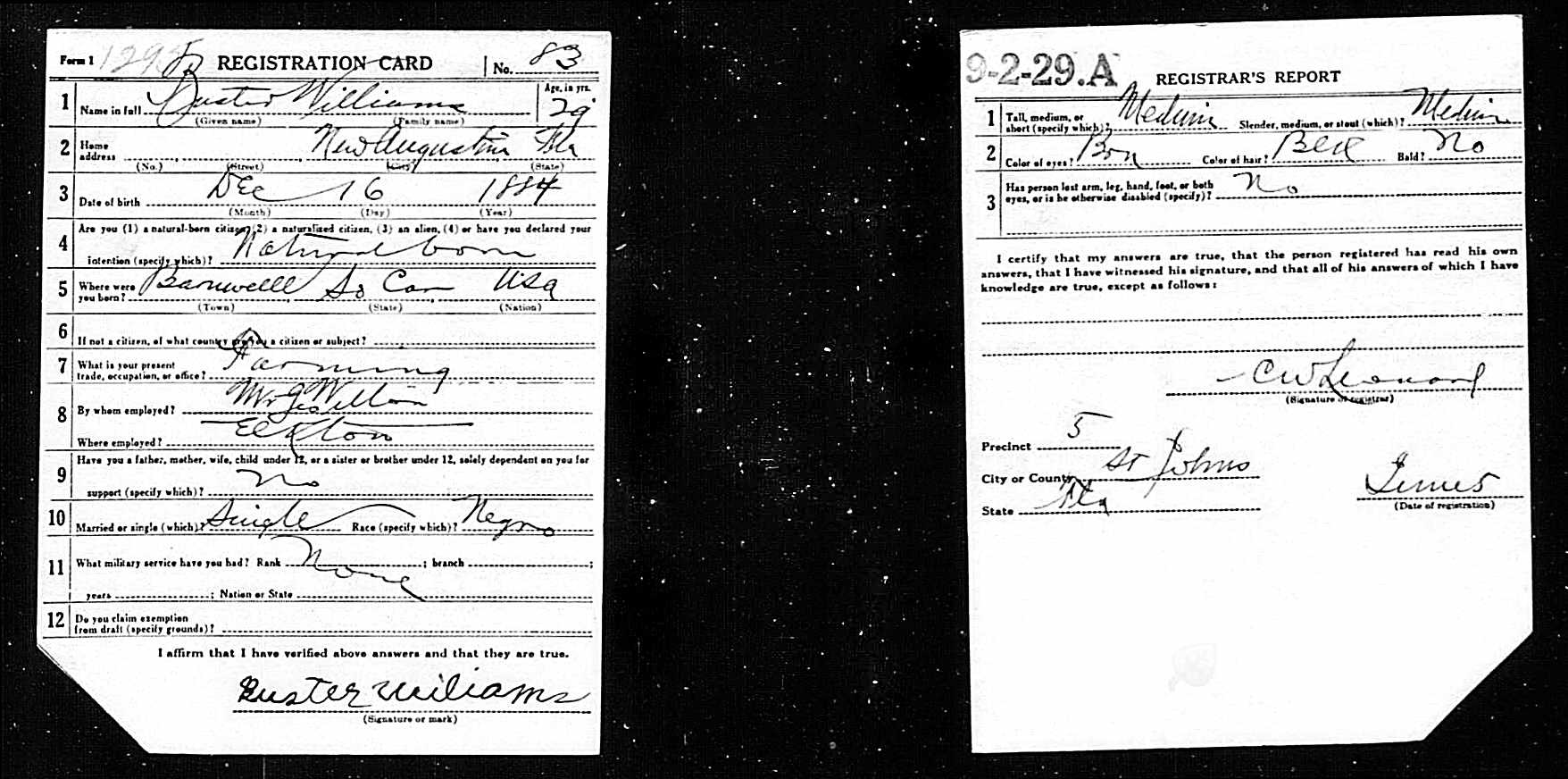 Buster Williams Registration Card