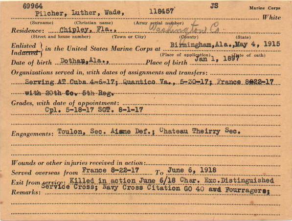 Pilcher WWI Service Card