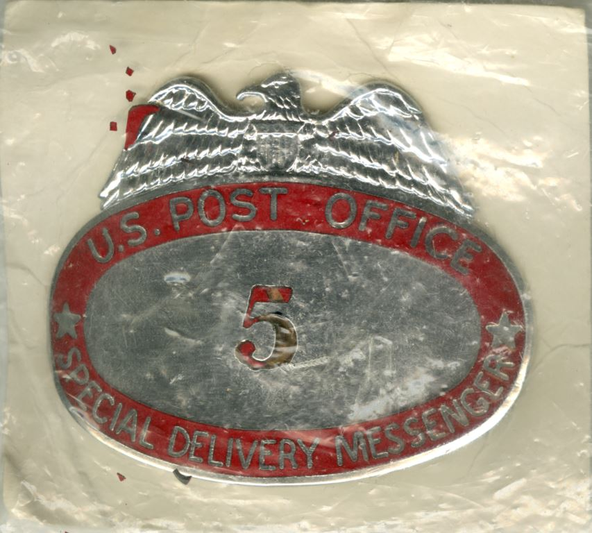 U.S. Post Office Special Delivery Messenger Badge · RICHES