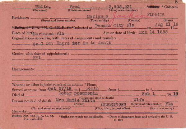 White WWI Registration Card