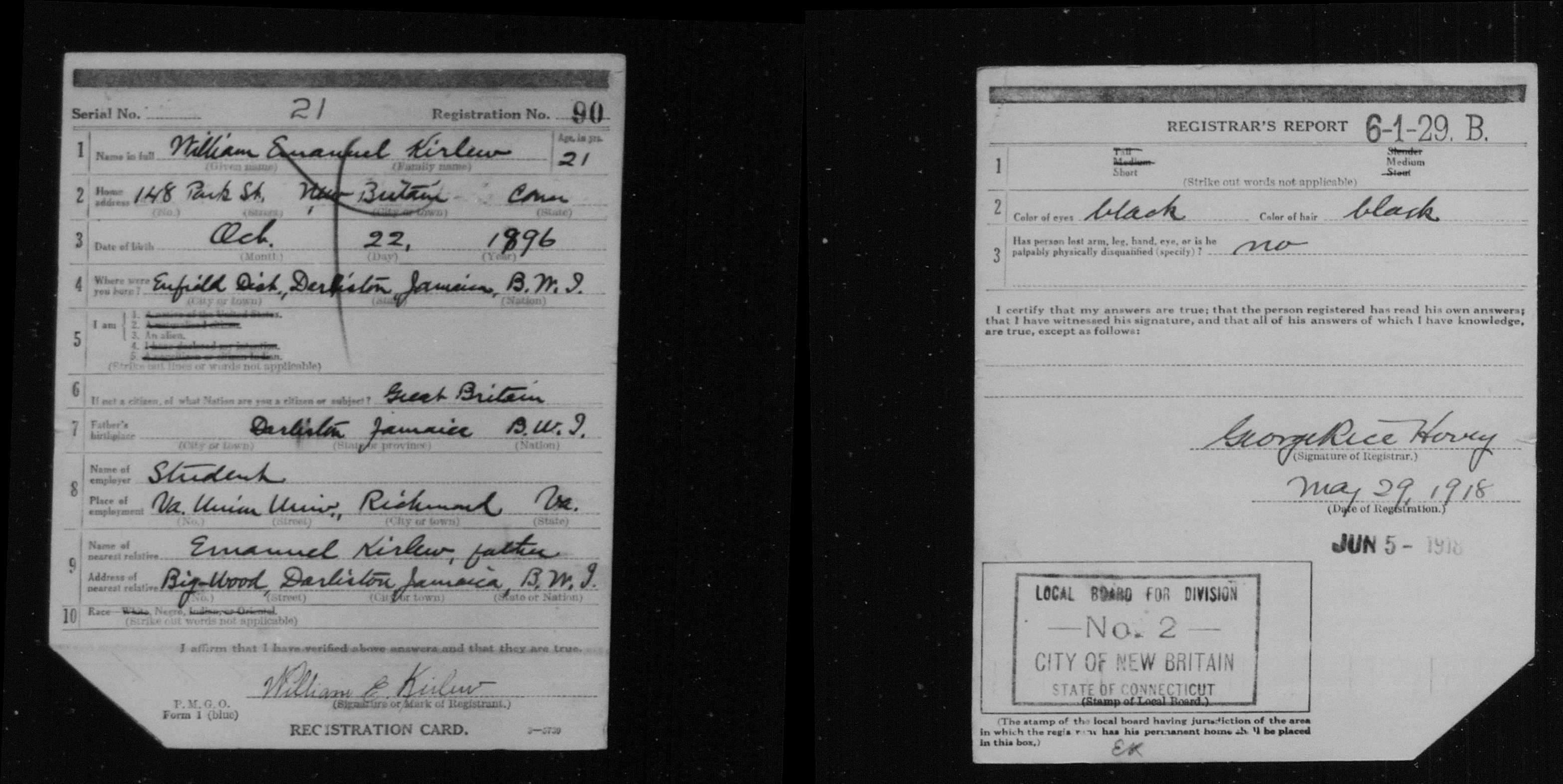 WWI Draft Registration Card for William Kirlew