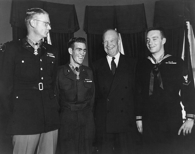 Medal of Honor Ceremony, January 12, 1954 - Schowalter Jr, Ernest E. West, Dwight D. Eisenhower and William R. Charette