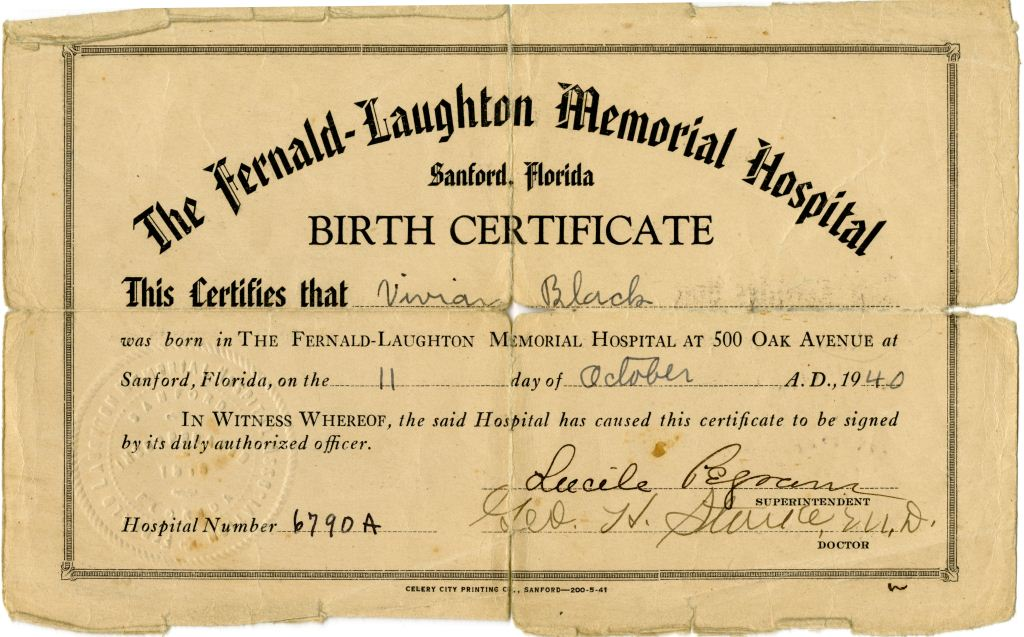 Birth Certificate For Vivian Louise Black  Riches Of Central Florida