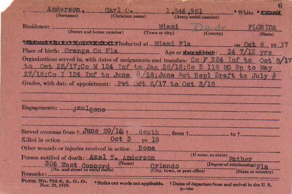 Carl Anderson Service Card