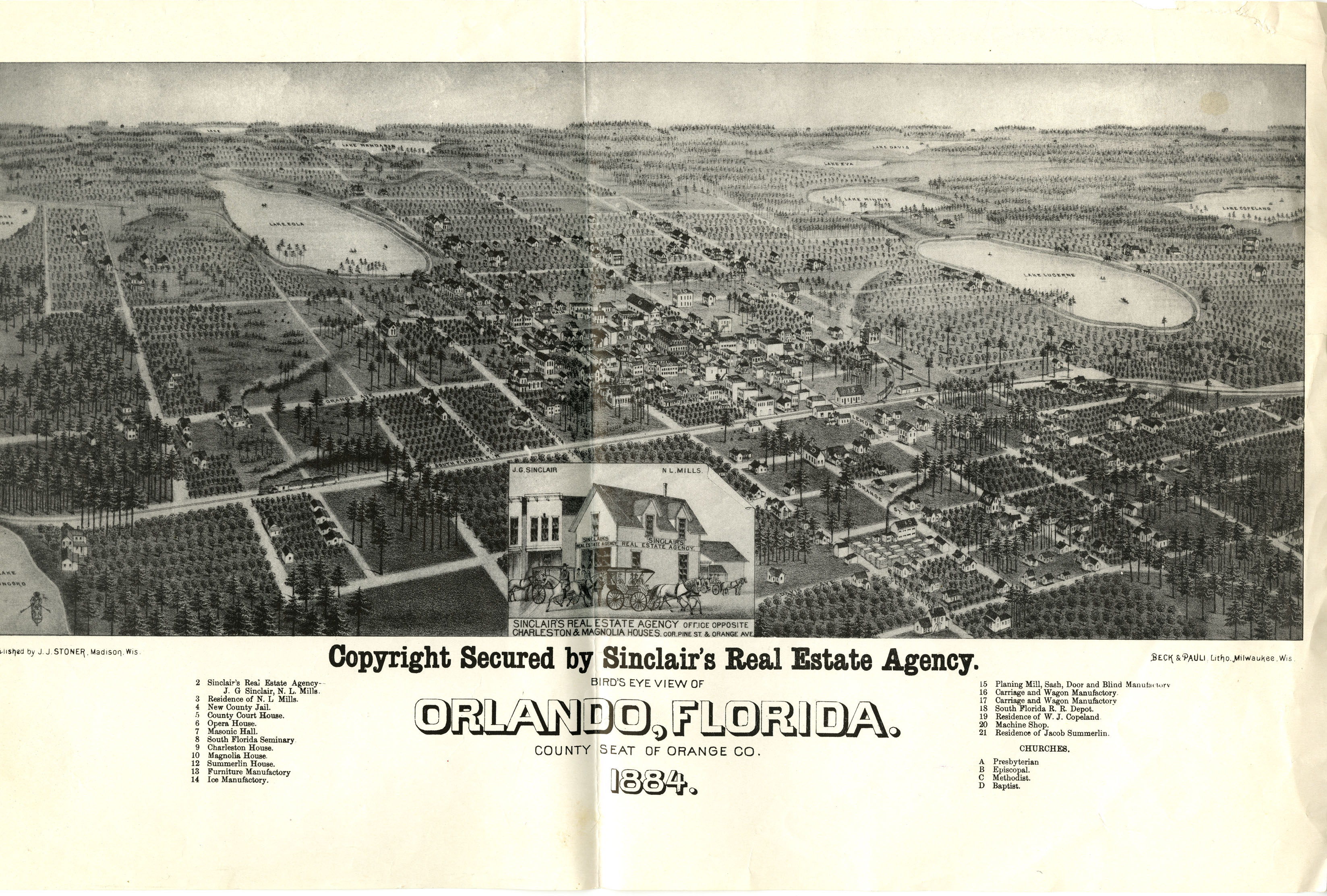 an elevated view of orlando florida in 1884 the lithograph focused on sinclairs real estate agency located on the corner of pine street and south