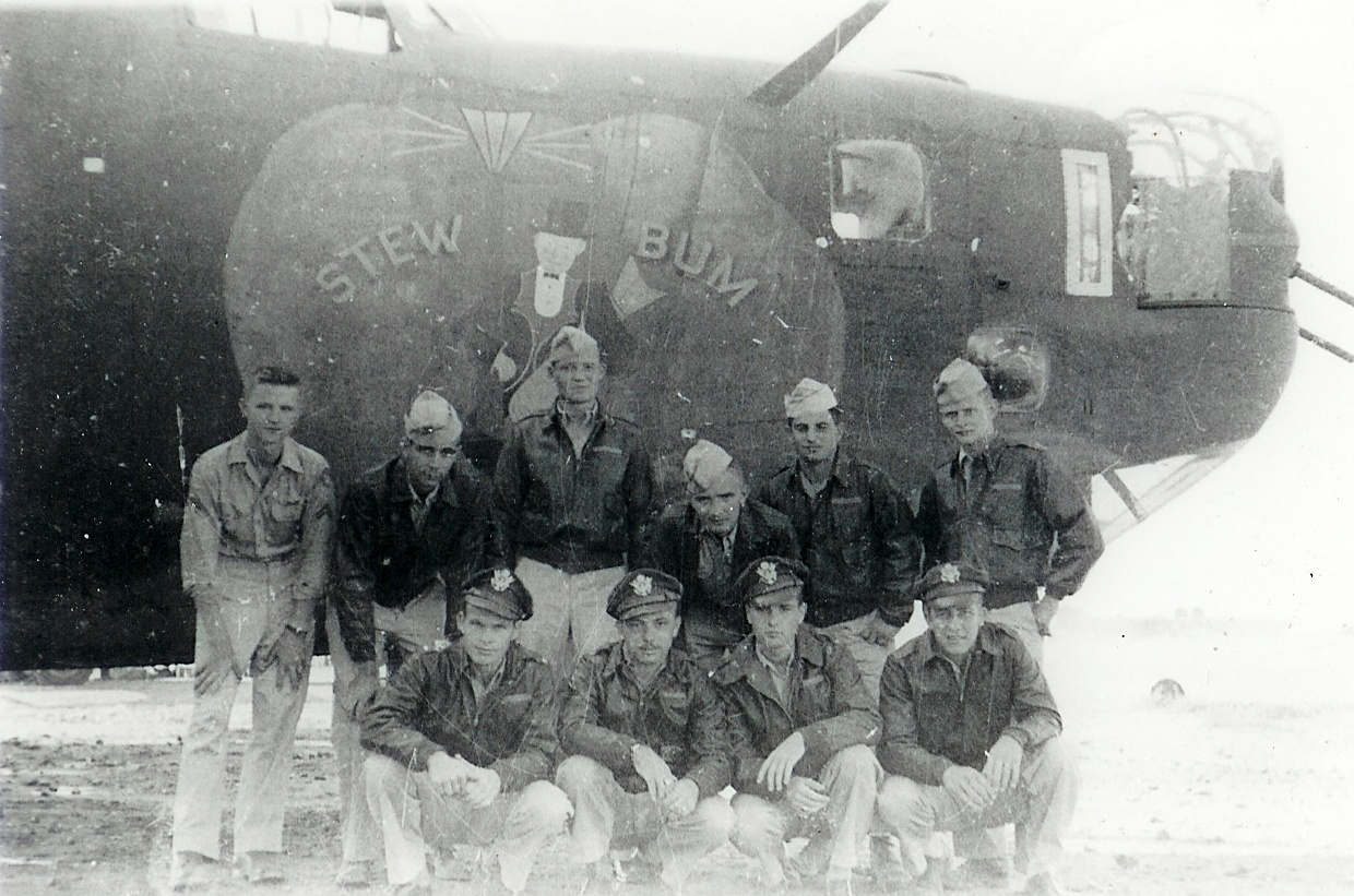 Photograph of Sidney Malatsky with his Crewmembers in the 484th Bombardment Group