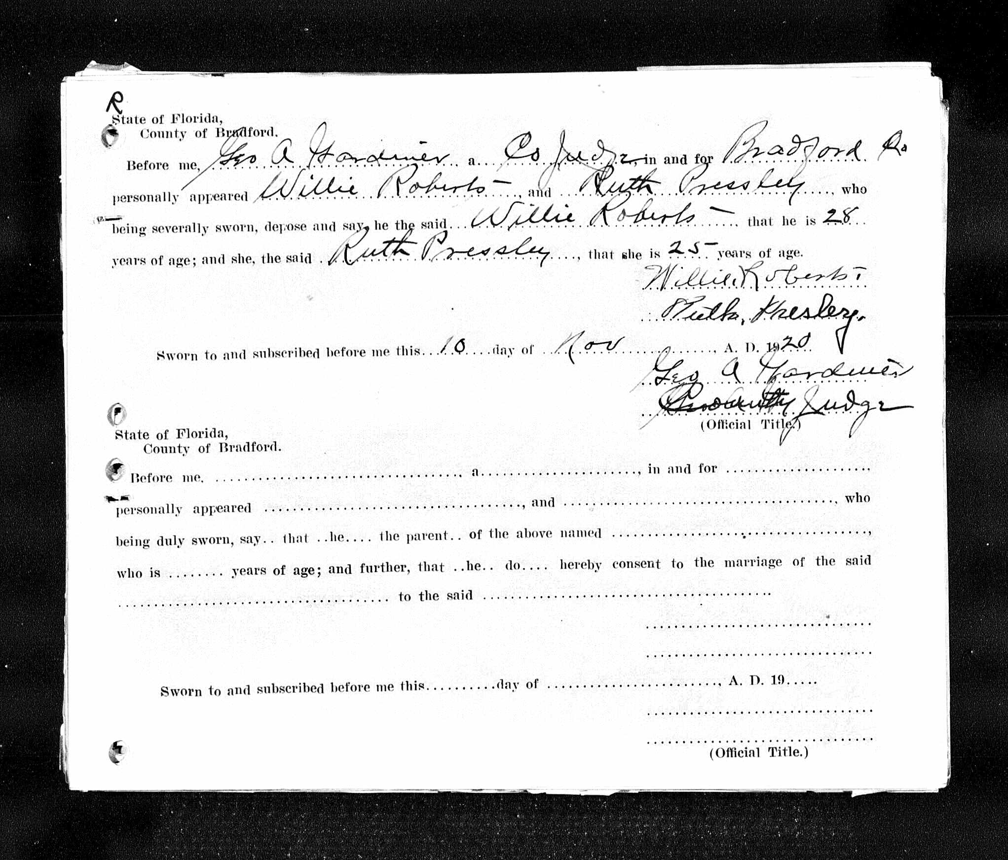 Florida Marriage Certificate, Willie Roberts and Ruth Pressley
