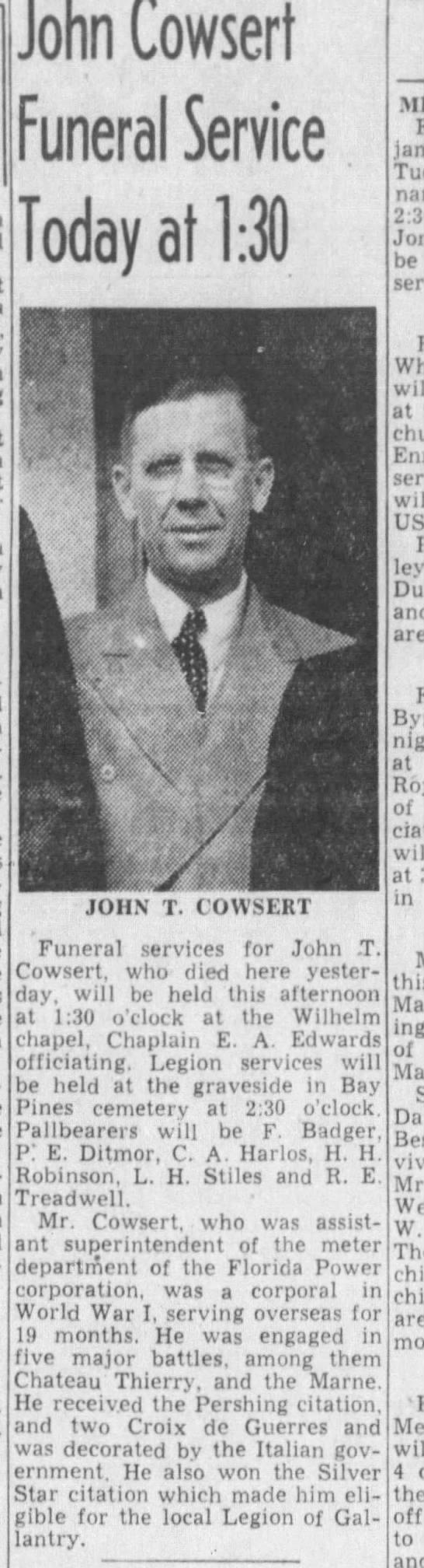 Cowsert obituary