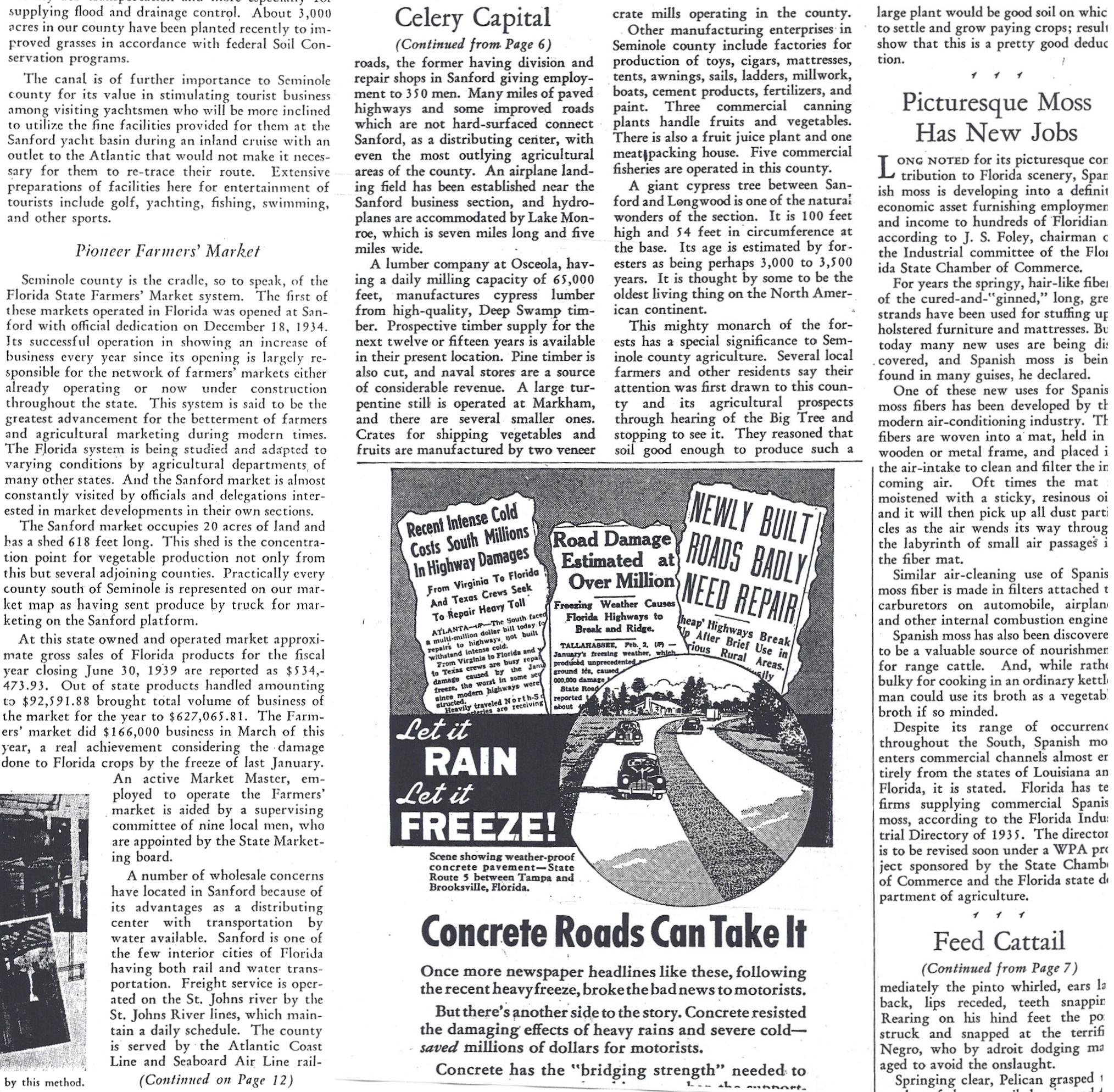newspaper article in the florida grower on the sanford state farmers market in 1940 the article also discusses other features of central florida