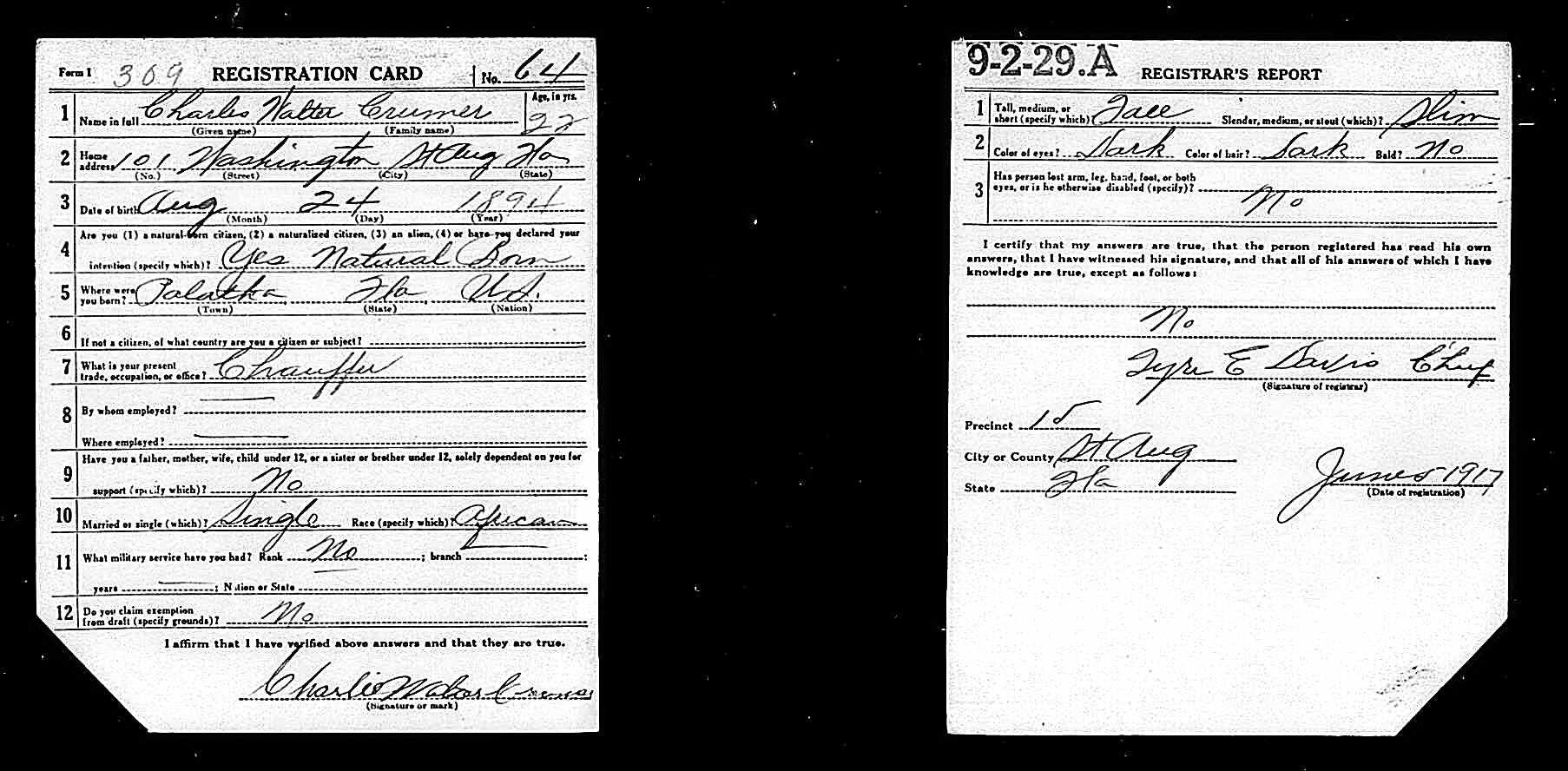 Draft Registration Card of Charles Walter Crummer