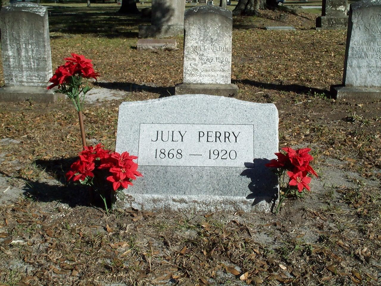 Ocoee Massacre: Headstone For July Perry At Greenwood Cemetery · RICHES