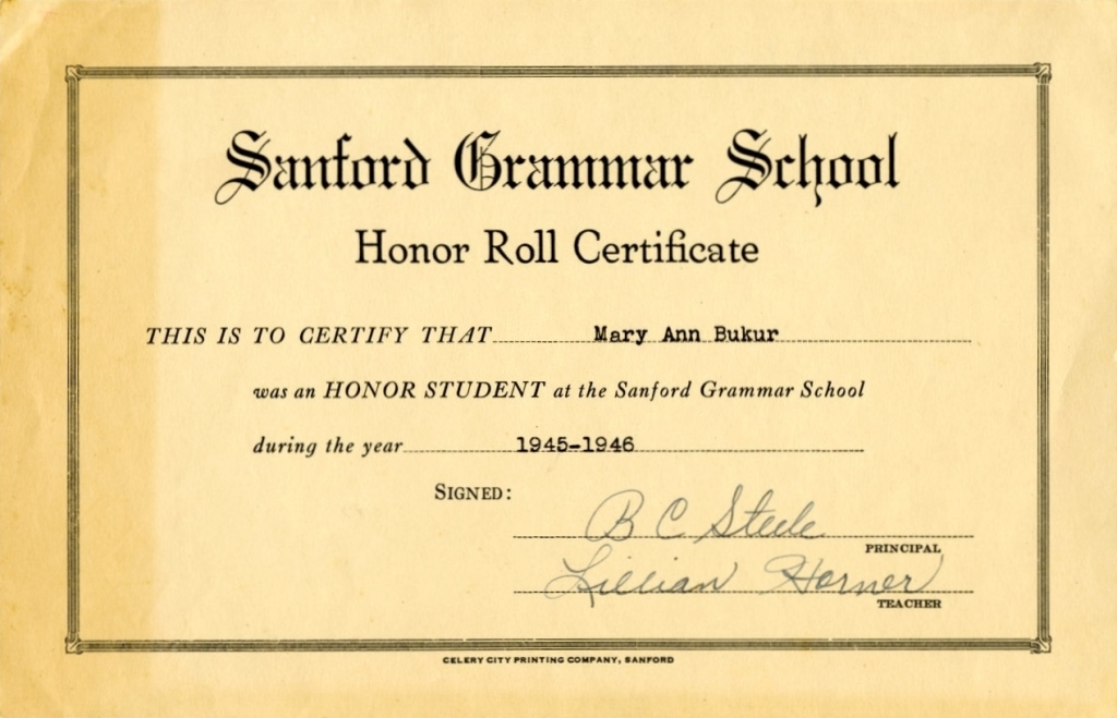 sanford grammar school honor roll certificate for mary ann