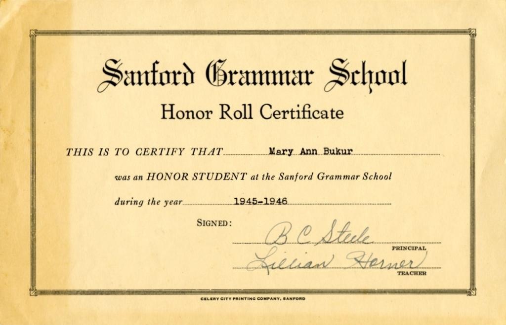 Sanford Grammar School Honor Roll Certificate for Mary Ann Bukur ...