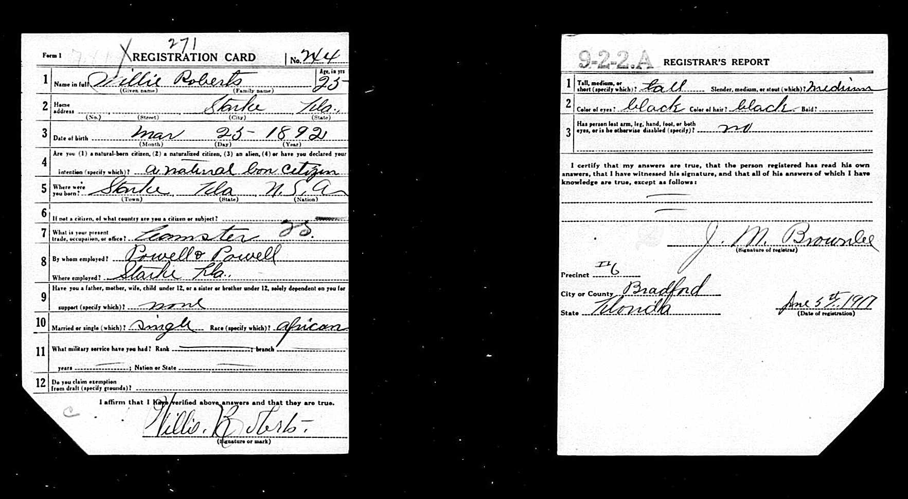 WWI Draft Registration Card for Willie Roberts