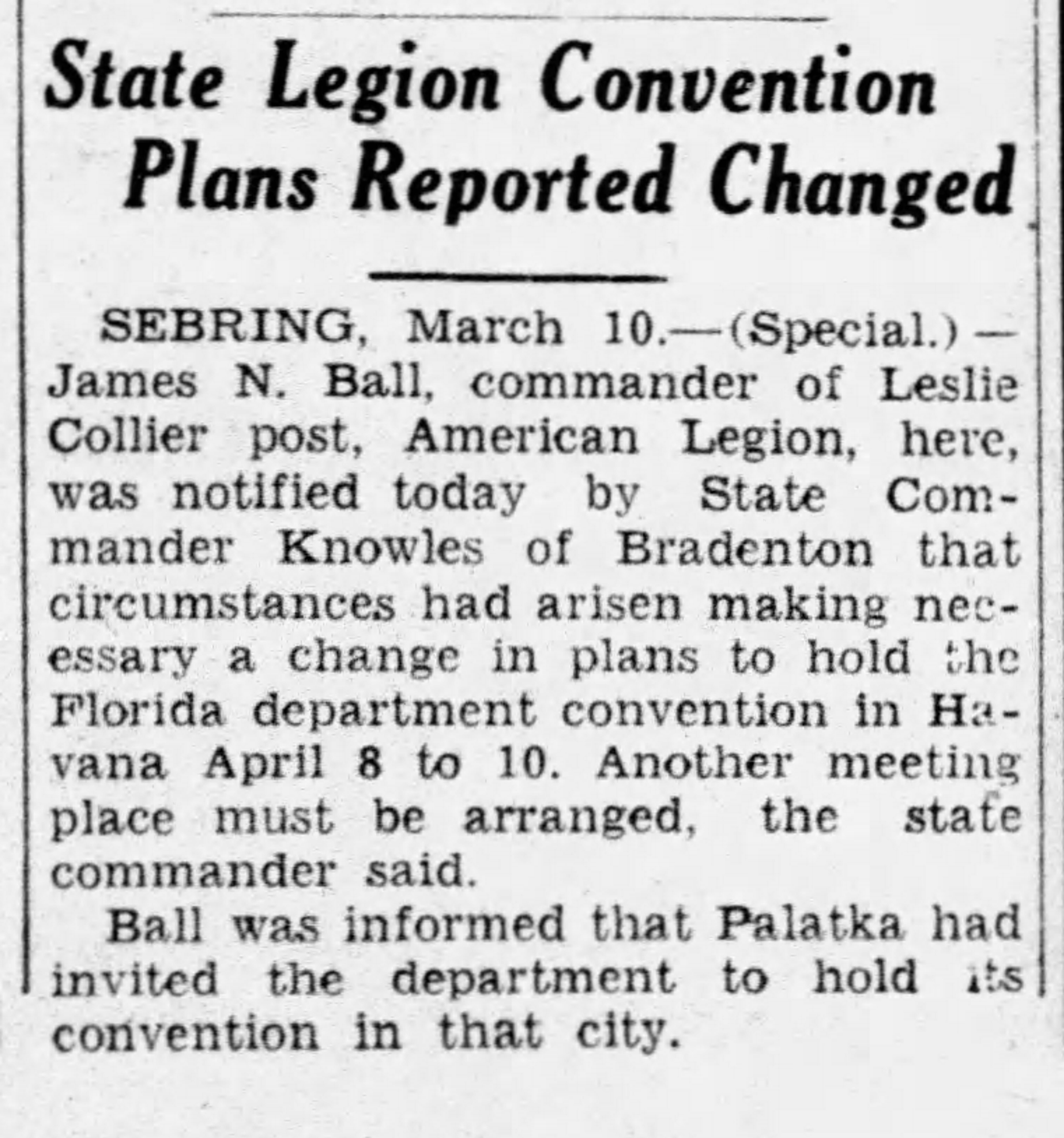 Figure 2: Tampa Tribune, March 11, 1933