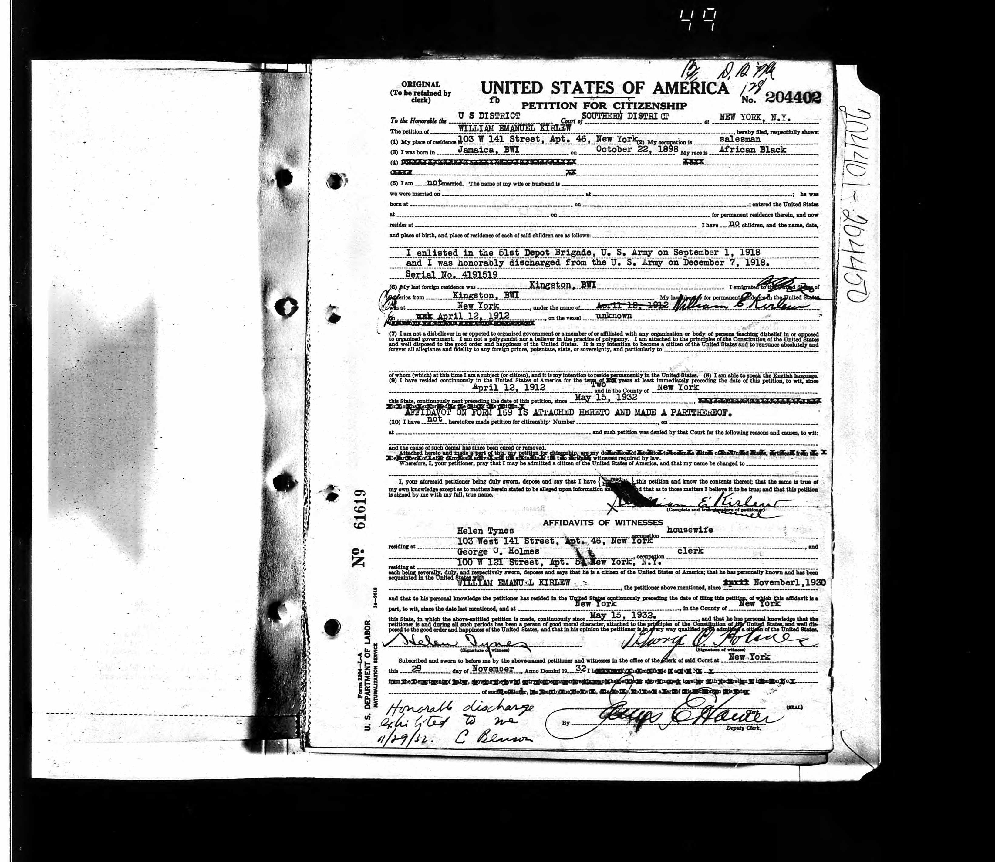 Naturalization Petition Card for William Kirlew