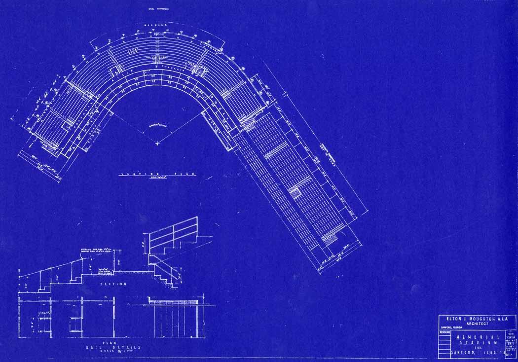 blueprint of sanford memorial stadium created by local sanford architect elton j moughton the historic sanford memorial stadium is located at 1201 south