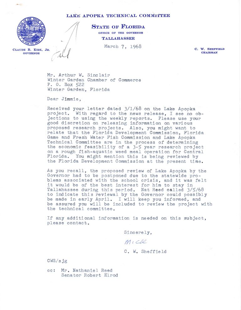Letter From C W Sheffield To Arthur W Sinclair March 7