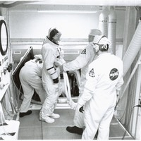Jim Lovell in the White Room Before Boarding Apollo 8
