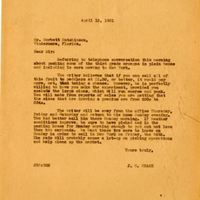 Letter from Joshua Coffin Chase to Corbett Hutchinson (April 15, 1931)