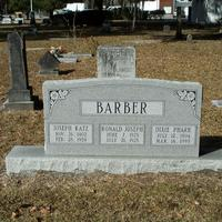Headstone for Joseph Katz Barber, Ronald Joseph Barber, and Dixie Pharr Barber at Conway United Methodist Church Cemetery