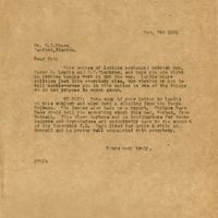 Letter from Joshua Coffin Chase to Sydney Octavius Chase (December 7, 1921)