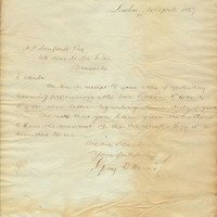 Letter from Gray Dawes and Company to Henry Shelton Sanford (April 21, 1887)