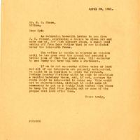 Letter from Joshua Chase to brother Sydney Chase (April 29, 1931)
