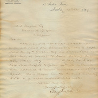 Letter from Gray Dawes and Company to Henry Shelton Sanford (October 27, 1887)