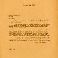 Letter from Joshua Coffin Chase to Sydney Octavius Chase (November 21, 1930)