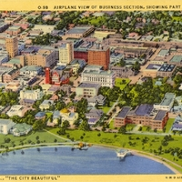 Airplane View of Business Section, Showing Part of Lake Eola Postcard