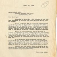 Letter from Sydney Octavius Chase to Lucian Boggs (August 29, 1927)
