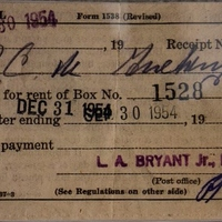 PO Box Receipt for R. C. M. Zachary (September 30, 1954)