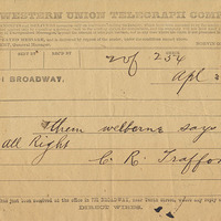 Telegram from E. R. Trafford to Henry Shelton Sanford (April 3, 1882)