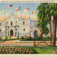 Under Six Flags, Showing the Alamo, Built in 1718 Postcard