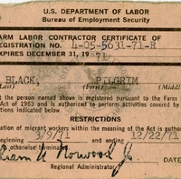 U.S. Department of Labor Bureau of Employment Secruity Farm Labor Contractor Certificate of Registration No. 4-05-5631-71-R