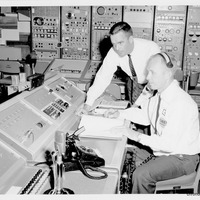 Dr. Calvin D. Fowler and Wayne Reid at Launch Conductor's Workstation in Cape Canaveral Air Force Station Launch Complex 14
