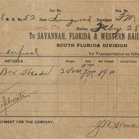 Savannah, Florida & Western Railway Company Receipt for Isaac Vanderpool (February 28, 1893)