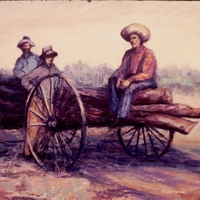 Dinda Family Hauling Logs by Bettye Reagan