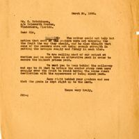 Letter from Joshua Coffin Chase to Corbett Hutchinson (March 26, 1928)