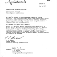 Memorandum from Thomas E. Campbell to Energy Systems Technology Divisions (May 7, 1987)