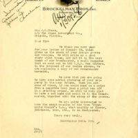 Letter from Brockelman Brothers, Inc. to Joshua Coffin Chase (January 24, 1928)