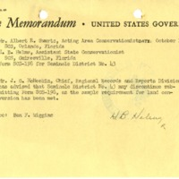 Office Memorandum of the Seminole Soil and Water Conservation District, 1952