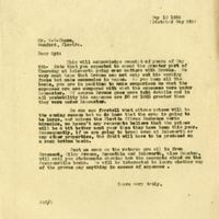 Letter from Joshua Coffin Chase to Sydney Octavius Chase (May 10, 1924)