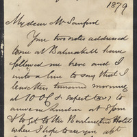 Letter from William MacKinnon to Henry Shelton Sanford (November 6, 1879)