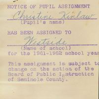 Westside Grammar Elementary School Notice of Pupil Assignment for Christine Kinlaw, 1961-1962