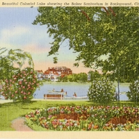 Beautiful Colonial Lake Showing the Baker Sanitorium in Background Postcard