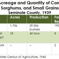 Acreage and Quantity of Corn, Sorghums, and Small Grains, Seminole County, 1939