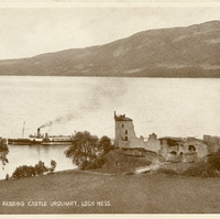 "The ""Gondlier"" Passing Castle Urquhart, Loch Ness Postcard"