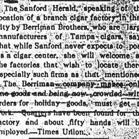 Newspaper Articles on the Berriman Brothers Cigar Factory in Sanford
